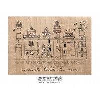 Chou & Flowers Wood Mounted Stamp - Les phares (lighthouses)
