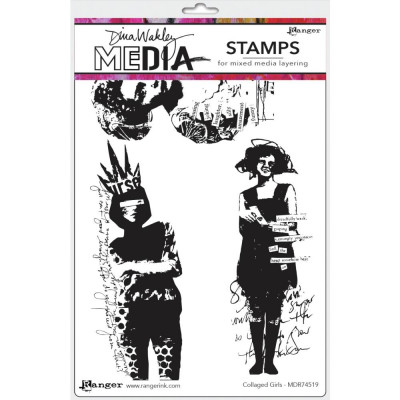 Dina Wakley Media stamps - Collaged Girls