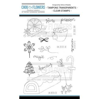Chou & Flowers Clear stamps - La bûche