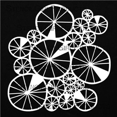 Spoked Wheels Collage Mask - StencilGirl Products