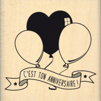 ANNIVERSAIRE AUX BALLONS -  Wood Mounted Florilège Stamp