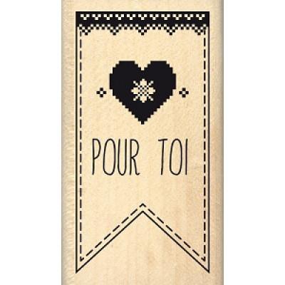 FANION JOLI CŒUR-  Wood Mounted Stamp Florilèges Design