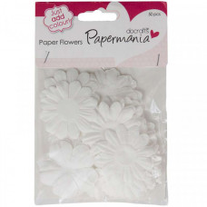 50 Large White Papermania Paper Flowers
