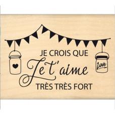 Je crois que je t'aime - Tampon bois Florilèges Design