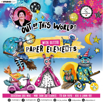 Art By Marlene Die Cut block paper elements Out of this World nr.7 with glitter