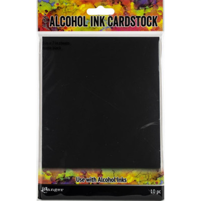 """Ranger Tim Holtz Alcohol Ink Cardstock 5"""" x 7"""" black matte"""