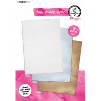 Art By Marlene Faux Leather Sheets - White, Gold and Silver