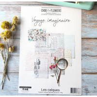 Chou & Flowers A4 printed vellum papers - Voyage Imaginaire
