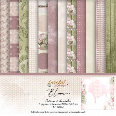 Collection 'Bloom' by Lorelaï Design - papers with patterns and watercolour effects
