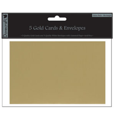 5 Gold cards and white envelopes