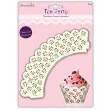 TEA  PARTY CUPCAKE WRAPPER FLORAL