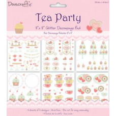 Tea Party 20x20 Glittered Decoupage Pad