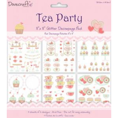 Tea Party 8x8 Glittered Decoupage Pad