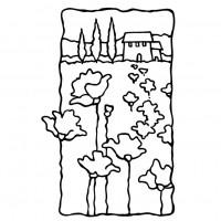 Stampendous rubber stamp - Poppy Scene